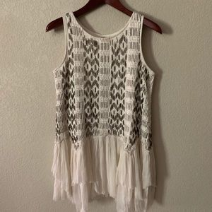 Free People Unique Ivory Beaded &Flowy Tunic/Dress